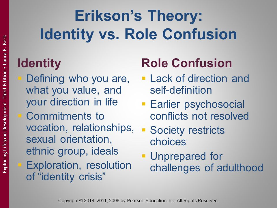 Erikson's Theory: Identity vs. Role Confusion Identity  Defining who you are, what you value, and your direction in life  Commitments to vocation, r