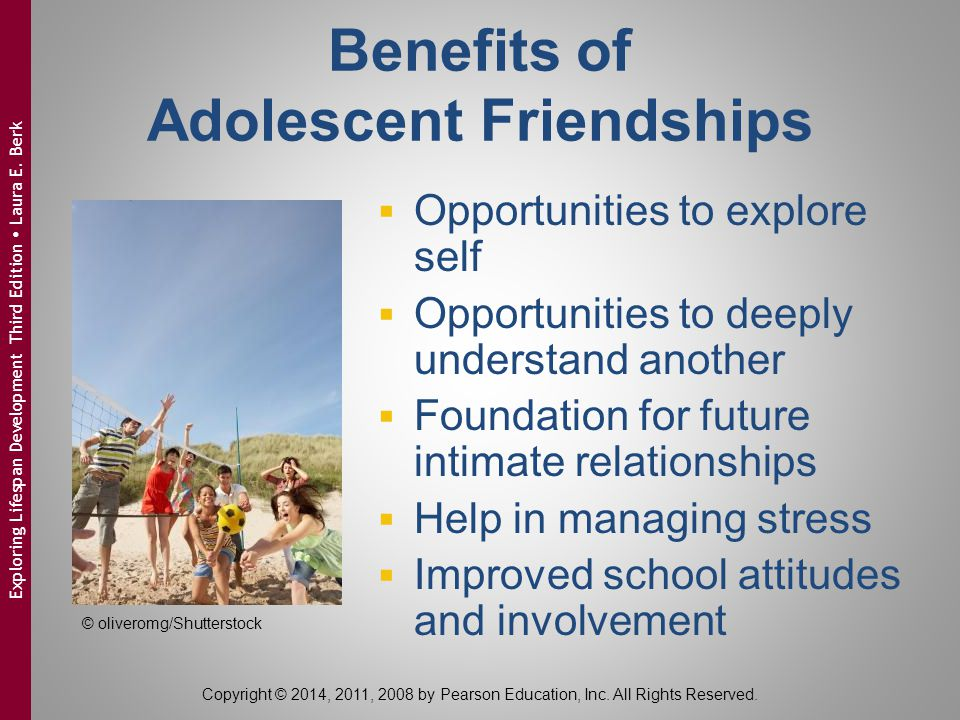 Benefits of Adolescent Friendships  Opportunities to explore self  Opportunities to deeply understand another  Foundation for future intimate relat