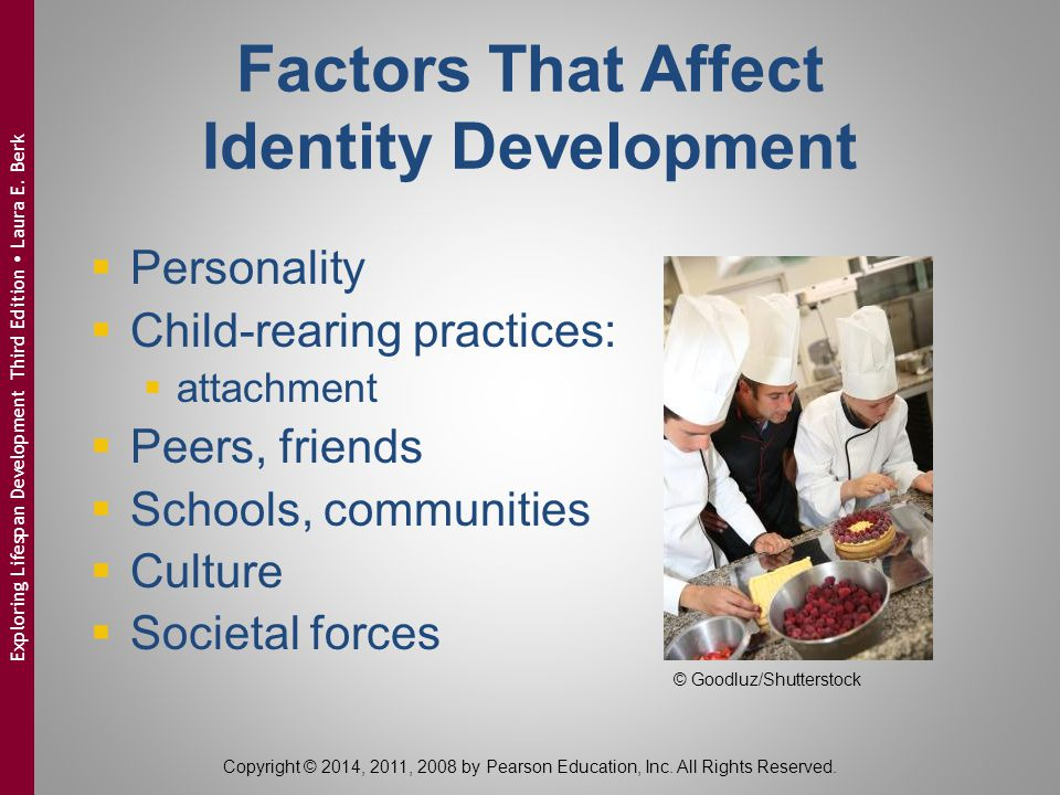 Factors That Affect Identity Development  Personality  Child-rearing practices:  attachment  Peers, friends  Schools, communities  Culture  Soc