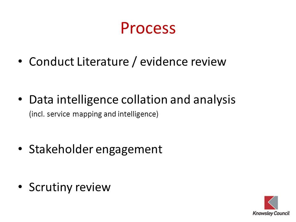Process Conduct Literature / evidence review Data intelligence collation and analysis (incl.