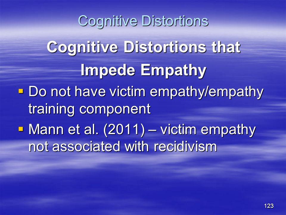 Cognitive Distortions Cognitive Distortions that Impede Empathy  Do not have victim empathy/empathy training component  Mann et al. (2011) – victim