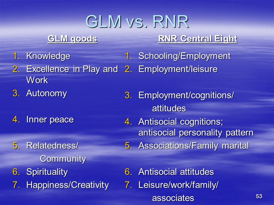 GLM vs. RNR GLM goods 1.Knowledge 2.Excellence in Play and Work 3.Autonomy 4.Inner peace 5.Relatedness/ Community 6.Spirituality 7.Happiness/Creativit
