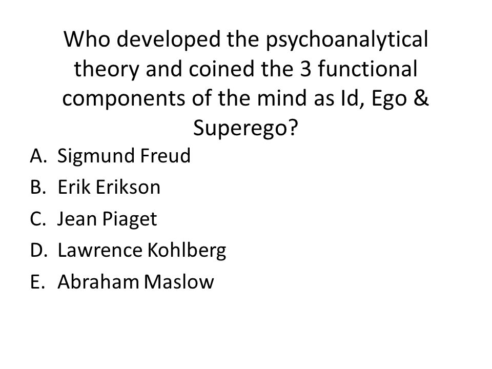 Who developed the psychoanalytical theory and coined the 3 functional components of the mind as Id, Ego & Superego.