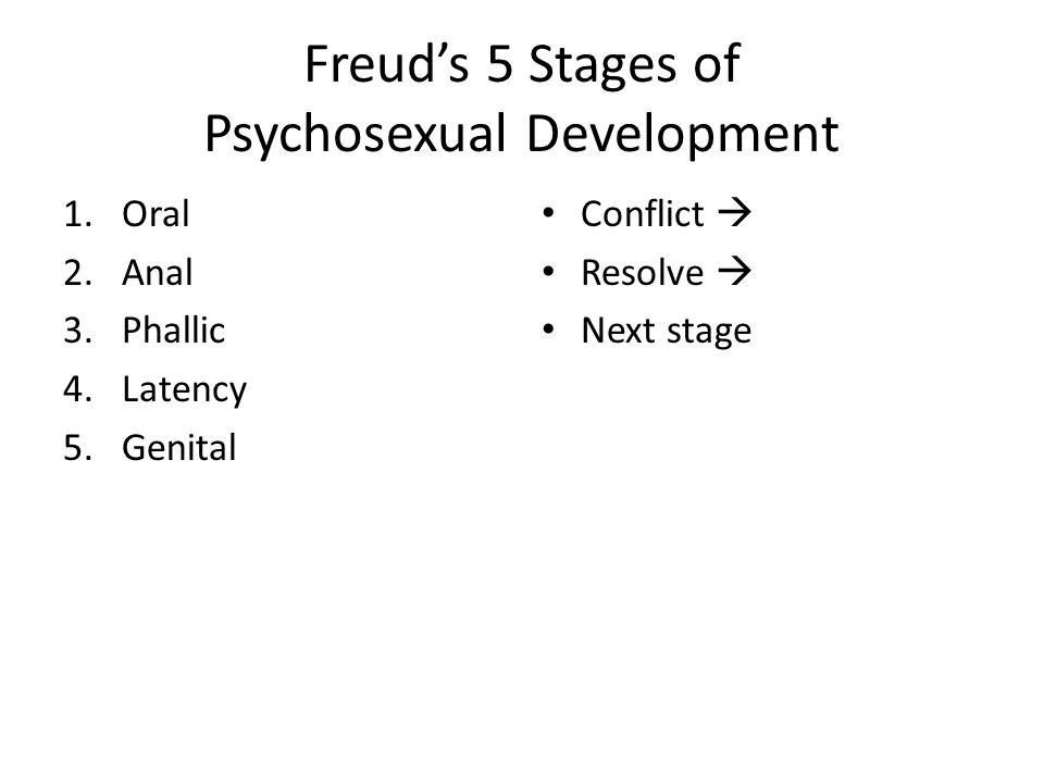 Freud's 5 Stages of Psychosexual Development 1.Oral 2.Anal 3.Phallic 4.Latency 5.Genital Conflict  Resolve  Next stage