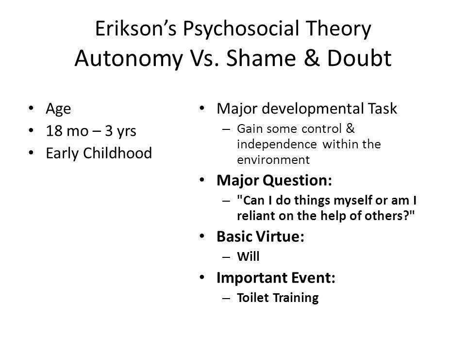 Erikson's Psychosocial Theory Autonomy Vs.