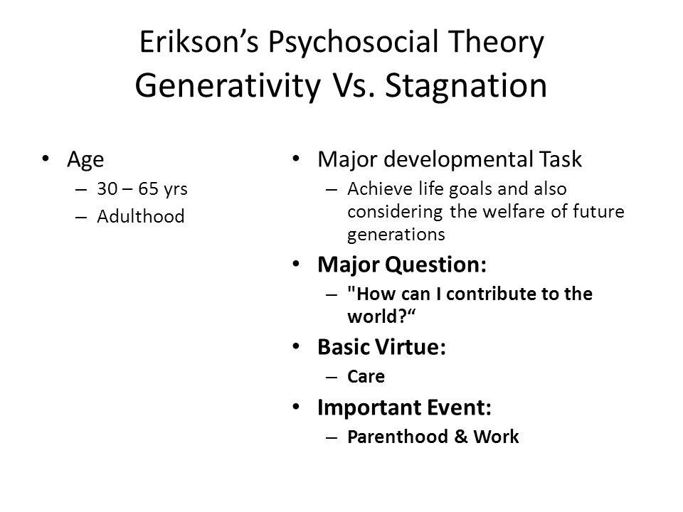 Erikson's Psychosocial Theory Generativity Vs.