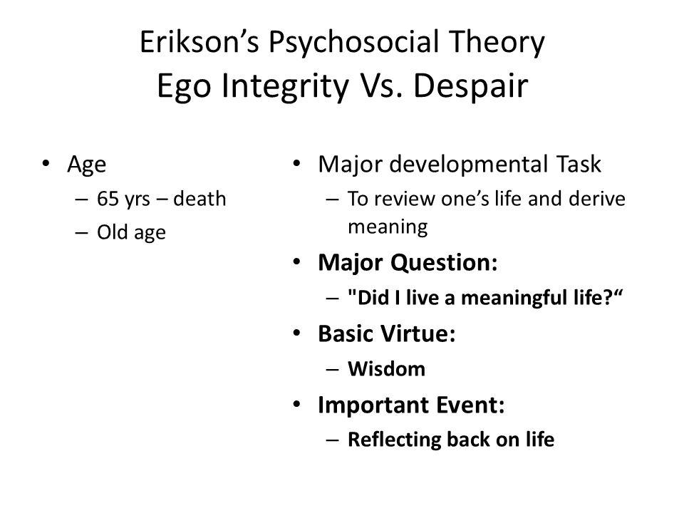 Erikson's Psychosocial Theory Ego Integrity Vs.