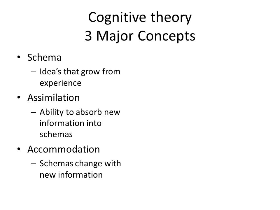 Cognitive theory 3 Major Concepts Schema – Idea's that grow from experience Assimilation – Ability to absorb new information into schemas Accommodation – Schemas change with new information