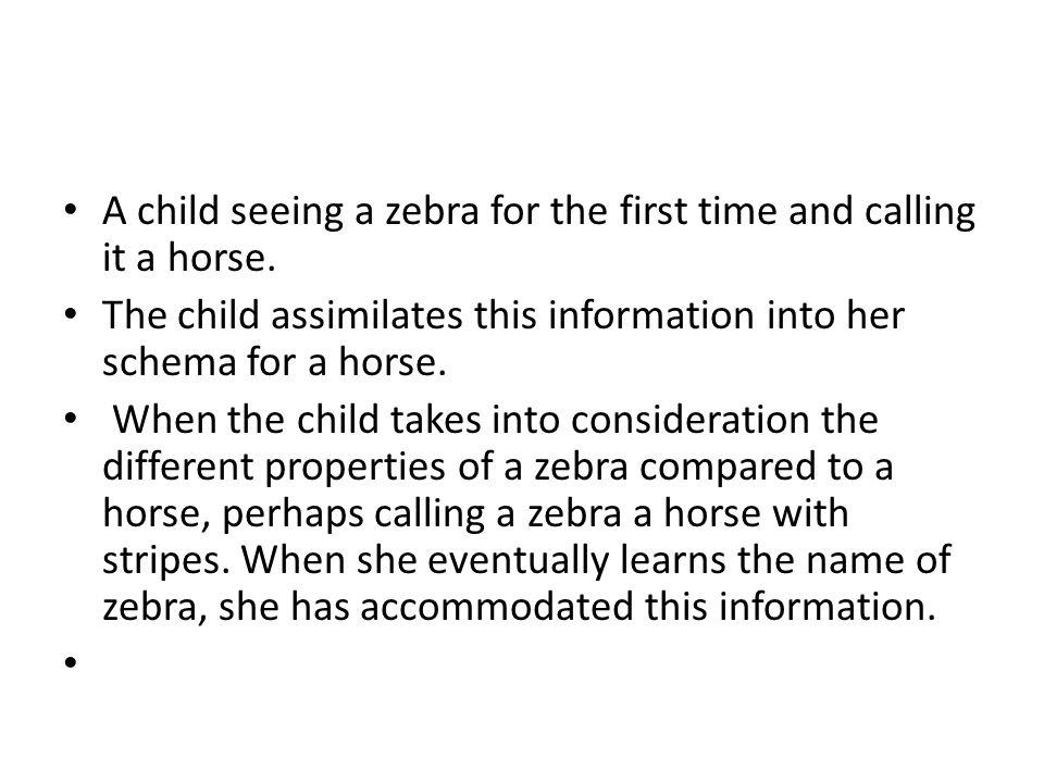 A child seeing a zebra for the first time and calling it a horse.