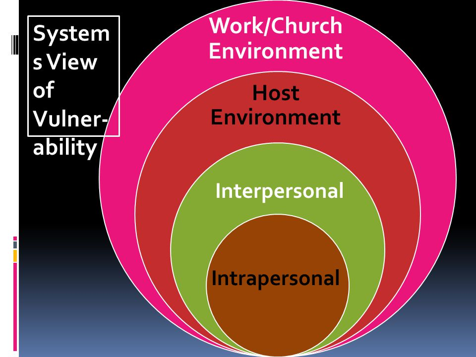 System s View of Vulner- ability Intrapersonal Interpersonal Host Environment Work/Church Environment