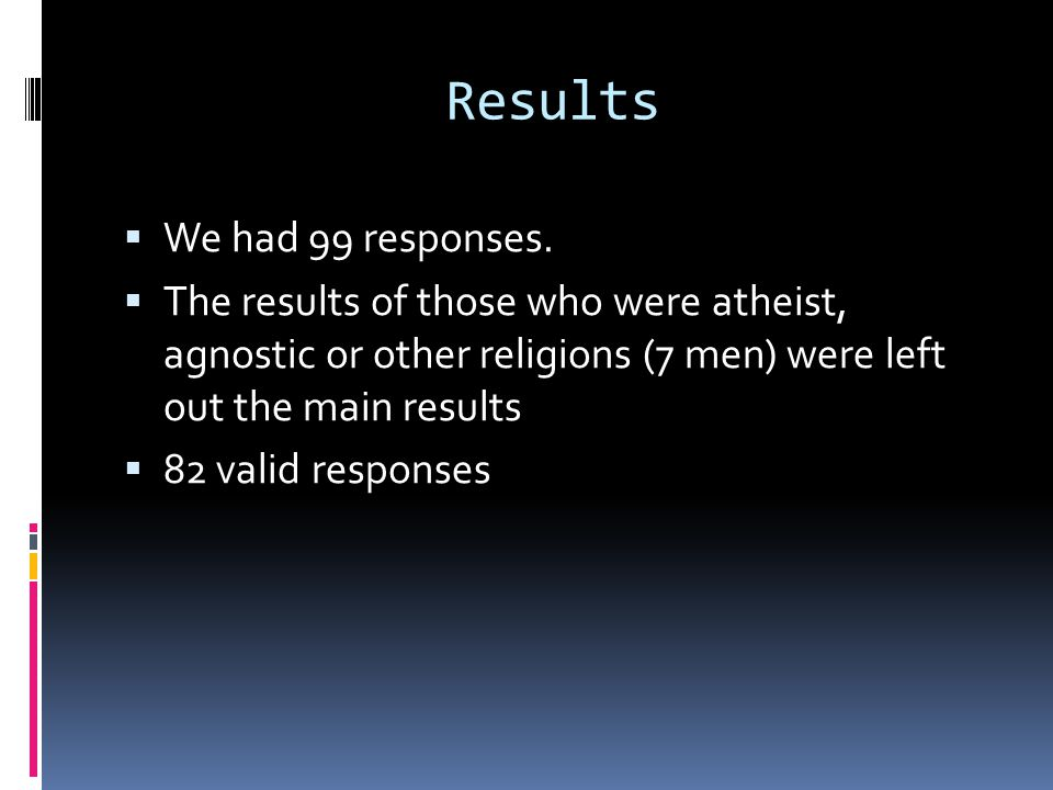 Results  We had 99 responses.  The results of those who were atheist, agnostic or other religions (7 men) were left out the main results  82 valid