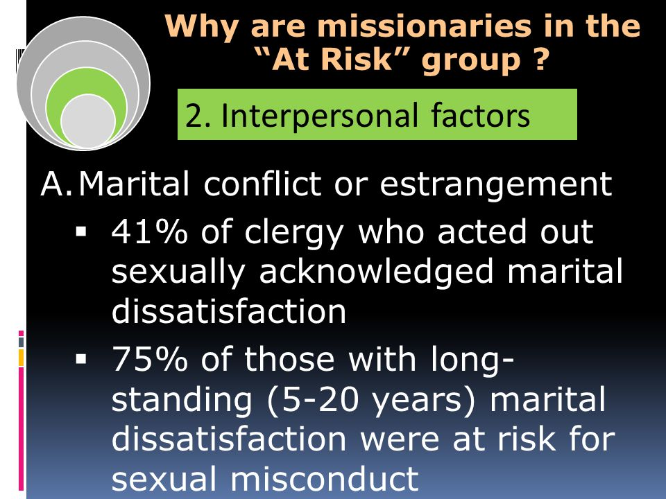 A.Marital conflict or estrangement  41% of clergy who acted out sexually acknowledged marital dissatisfaction  75% of those with long- standing (5-20 years) marital dissatisfaction were at risk for sexual misconduct Why are missionaries in the At Risk group .
