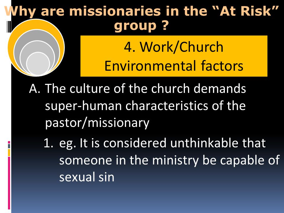 """Why are missionaries in the """"At Risk"""" group ? A.The culture of the church demands super-human characteristics of the pastor/missionary 1.eg. It is con"""