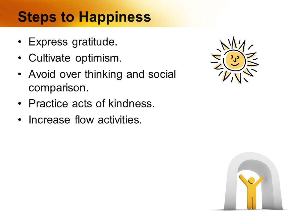 Steps to Happiness Express gratitude. Cultivate optimism.