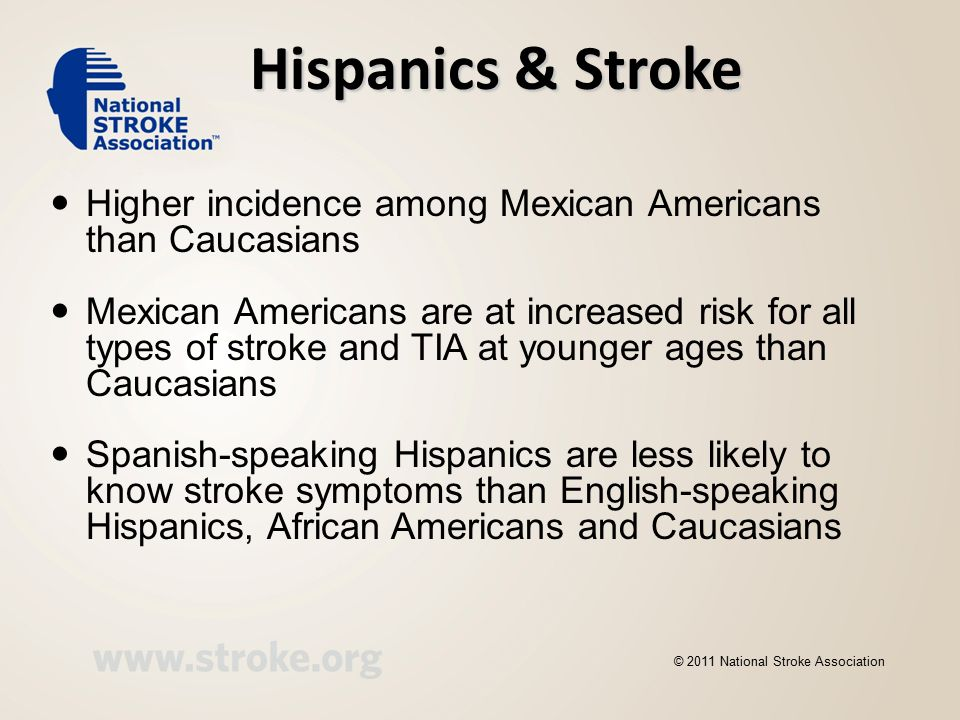 Hispanics & Stroke Higher incidence among Mexican Americans than Caucasians Mexican Americans are at increased risk for all types of stroke and TIA at younger ages than Caucasians Spanish-speaking Hispanics are less likely to know stroke symptoms than English-speaking Hispanics, African Americans and Caucasians © 2011 National Stroke Association