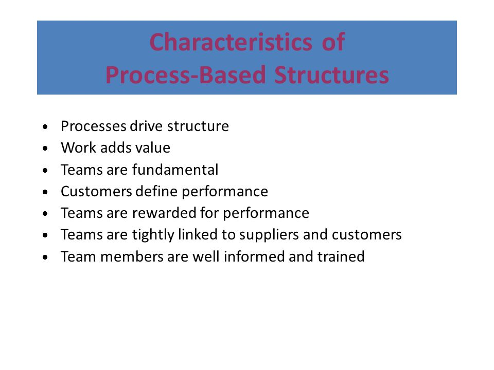 Characteristics of Process-Based Structures  Processes drive structure  Work adds value  Teams are fundamental  Customers define performance  Tea