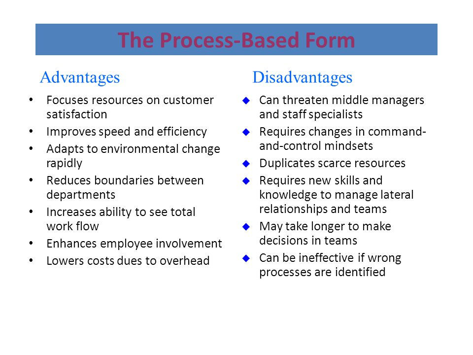 The Process-Based Form Focuses resources on customer satisfaction Focuses resources on customer satisfaction Improves speed and efficiency Improves sp
