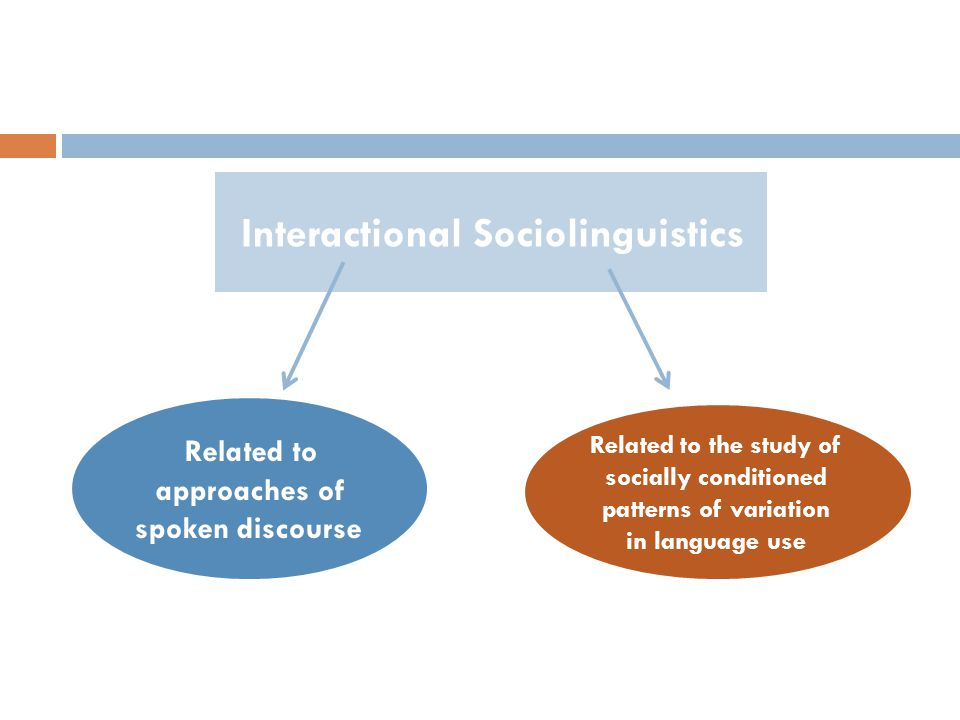 Interactional Sociolinguistics Related to the study of socially conditioned patterns of variation in language use Related to approaches of spoken discourse