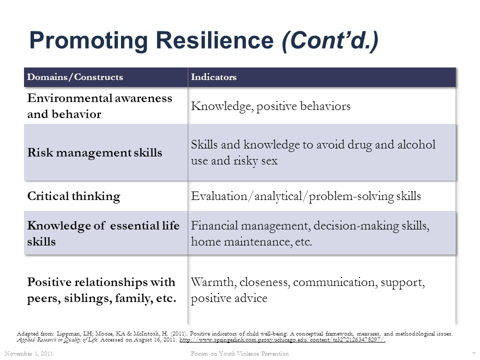 Promoting Resilience (Cont'd.) Adapted from: Lippman, LH; Moore, KA & McIntosh, H. (2011). Positive indicators of child well-being: A conceptual frame