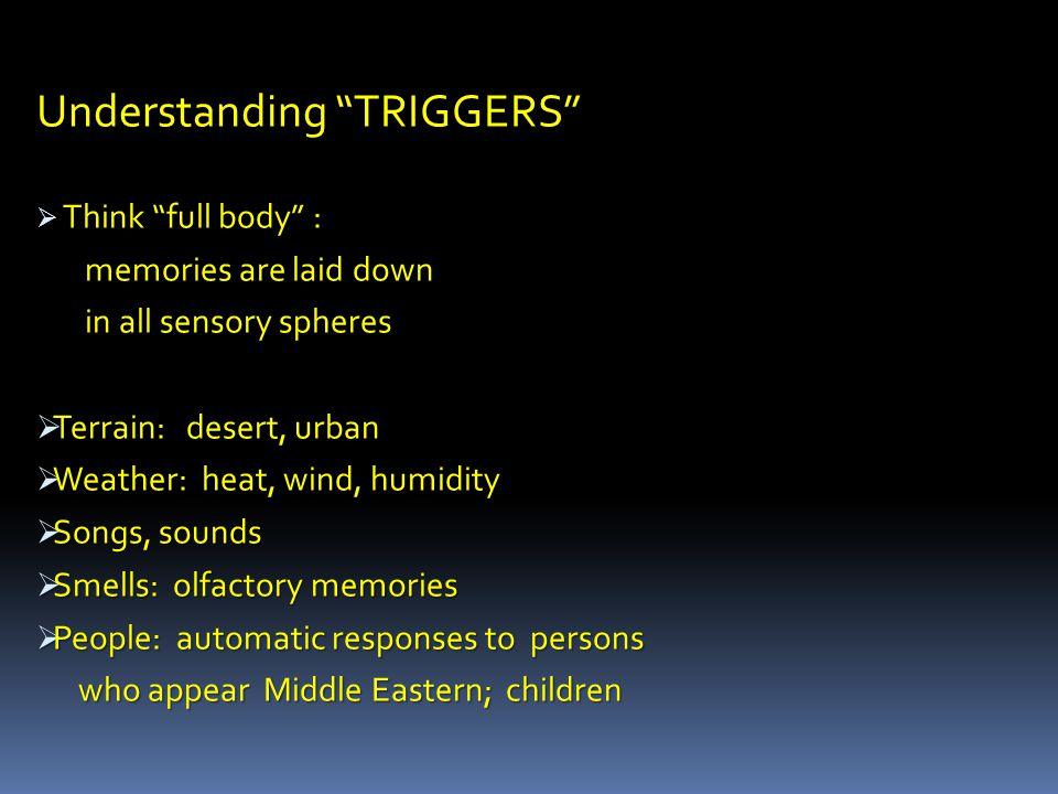 "Understanding ""TRIGGERS""  Think ""full body"" : memories are laid down memories are laid down in all sensory spheres in all sensory spheres  Terrain:"