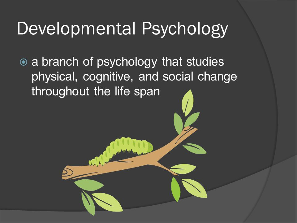 Developmental Psychology  a branch of psychology that studies physical, cognitive, and social change throughout the life span