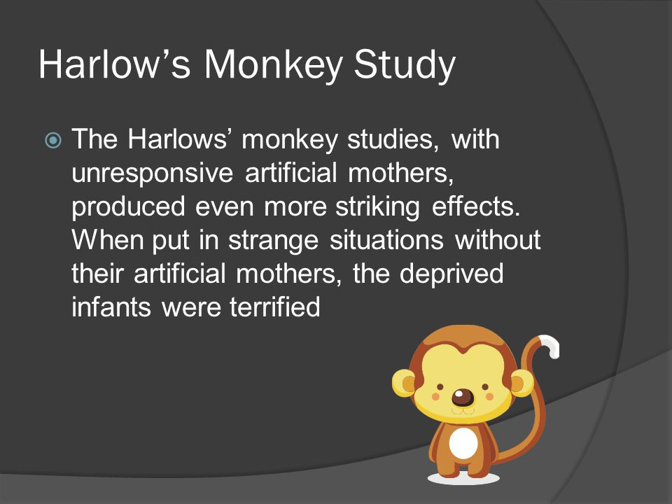 Harlow's Monkey Study  The Harlows' monkey studies, with unresponsive artificial mothers, produced even more striking effects.