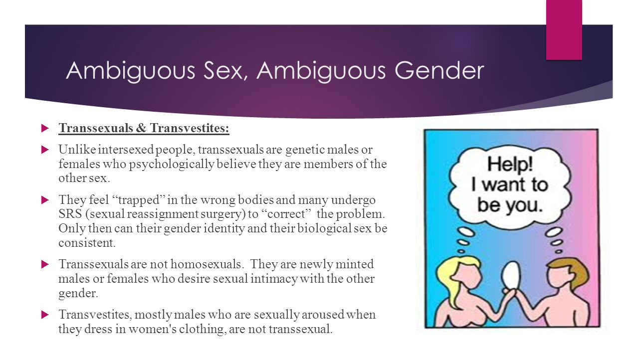 Ambiguous Sex, Ambiguous Gender  Transsexuals & Transvestites:  Unlike intersexed people, transsexuals are genetic males or females who psychologica