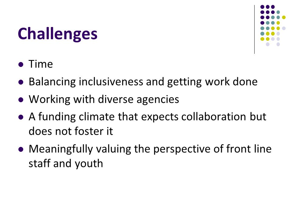 Challenges Time Balancing inclusiveness and getting work done Working with diverse agencies A funding climate that expects collaboration but does not foster it Meaningfully valuing the perspective of front line staff and youth