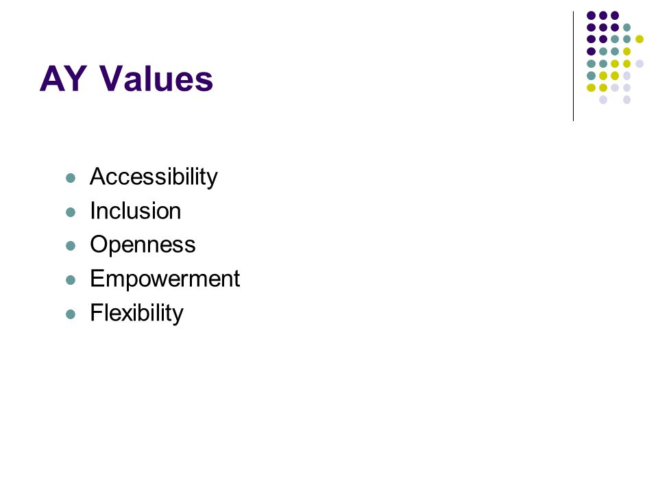 AY Values Accessibility Inclusion Openness Empowerment Flexibility