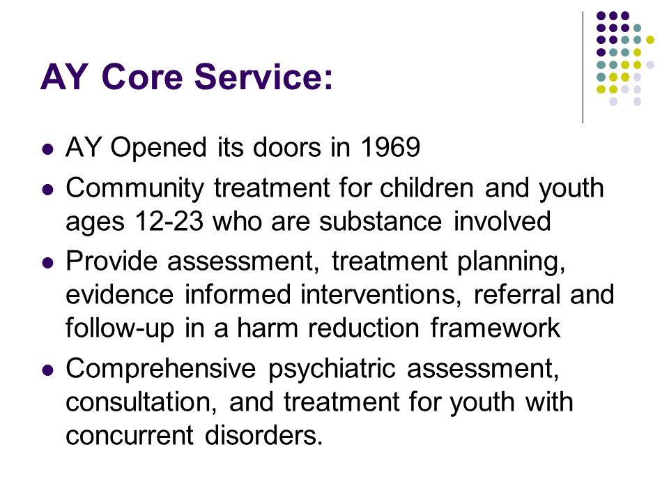 AY Core Service: AY Opened its doors in 1969 Community treatment for children and youth ages 12-23 who are substance involved Provide assessment, treatment planning, evidence informed interventions, referral and follow-up in a harm reduction framework Comprehensive psychiatric assessment, consultation, and treatment for youth with concurrent disorders.