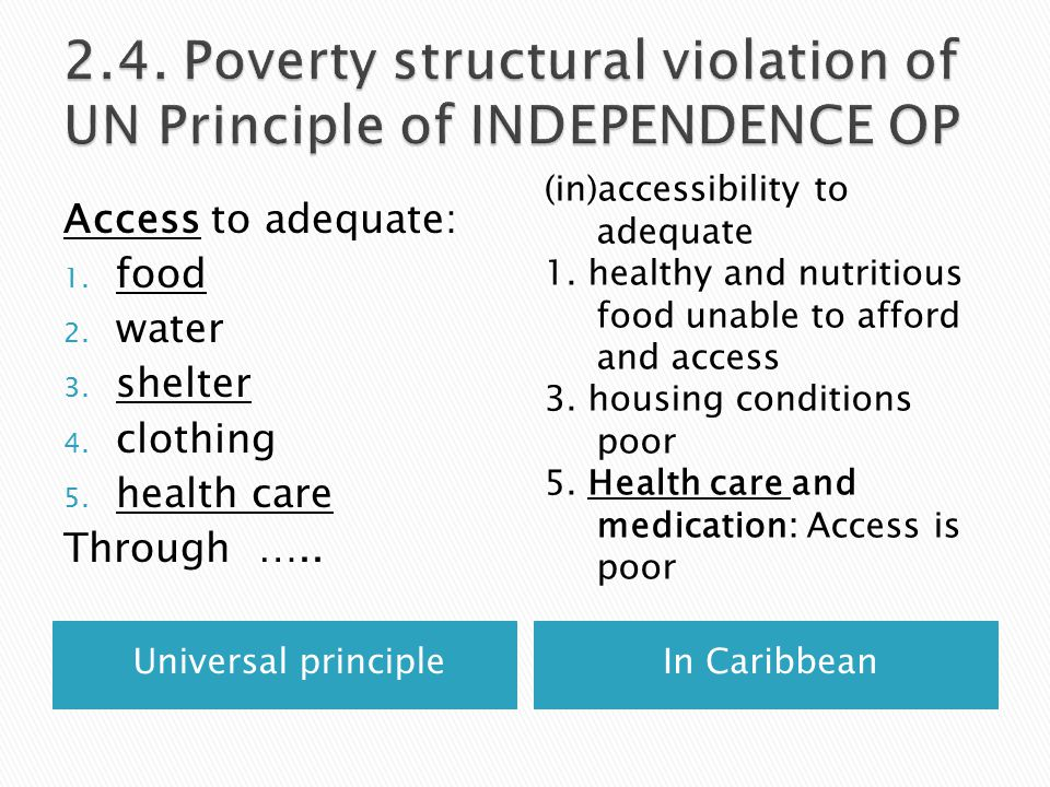 Universal principleIn Caribbean Access to adequate: 1.