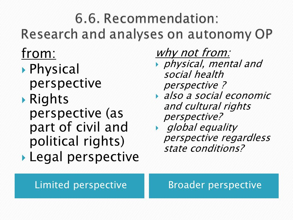 Limited perspectiveBroader perspective from:  Physical perspective  Rights perspective (as part of civil and political rights)  Legal perspective why not from:  physical, mental and social health perspective .