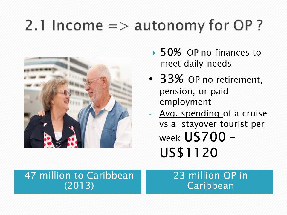 47 million to Caribbean (2013) 23 million OP in Caribbean  50% OP no finances to meet daily needs 33% OP no retirement, pension, or paid employment ◦ Avg.