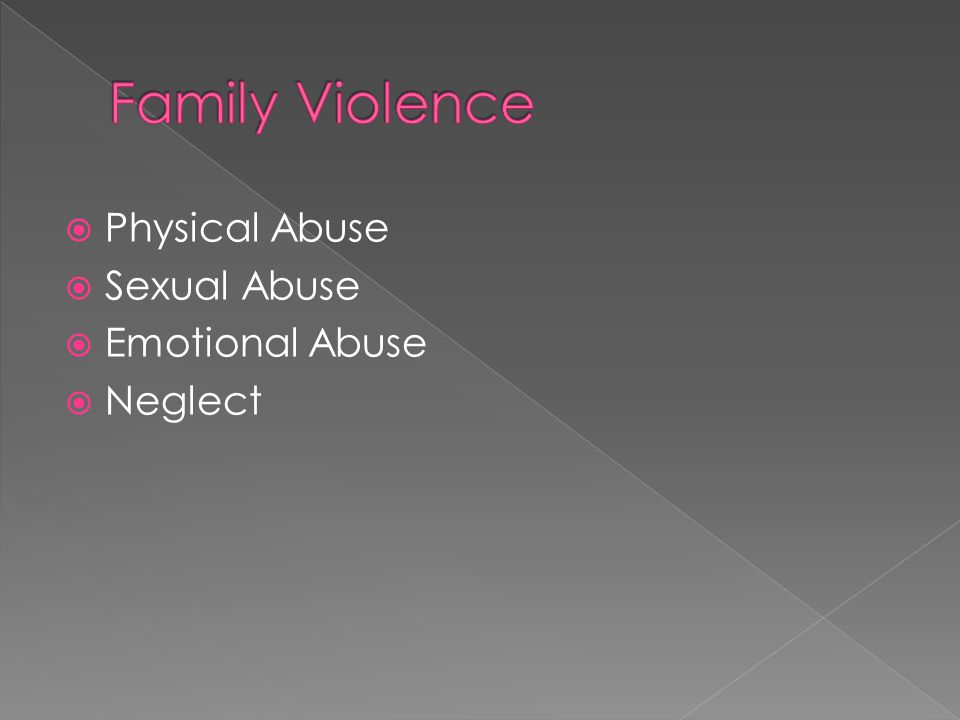  Physical Abuse  Sexual Abuse  Emotional Abuse  Neglect
