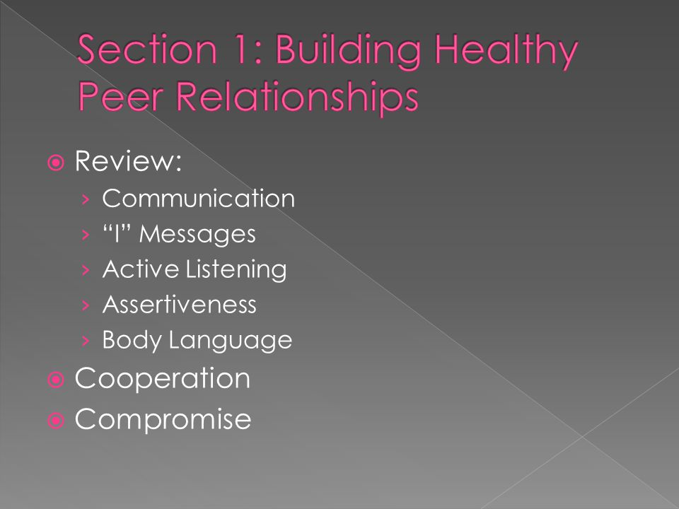  Review: › Communication › I Messages › Active Listening › Assertiveness › Body Language  Cooperation  Compromise