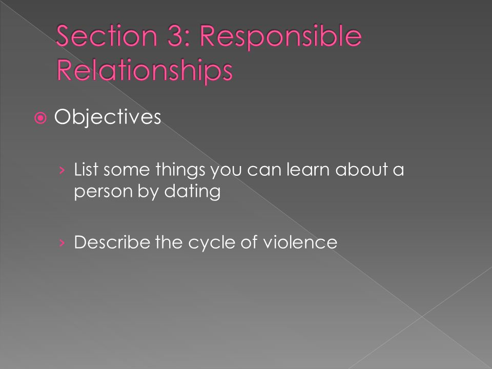  Objectives › List some things you can learn about a person by dating › Describe the cycle of violence