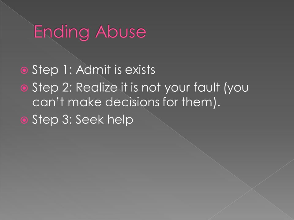  Step 1: Admit is exists  Step 2: Realize it is not your fault (you can't make decisions for them).