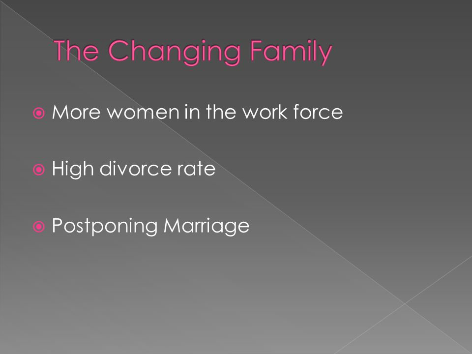  More women in the work force  High divorce rate  Postponing Marriage