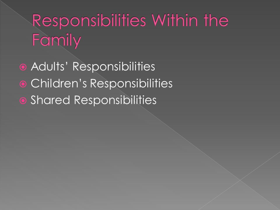  Adults' Responsibilities  Children's Responsibilities  Shared Responsibilities