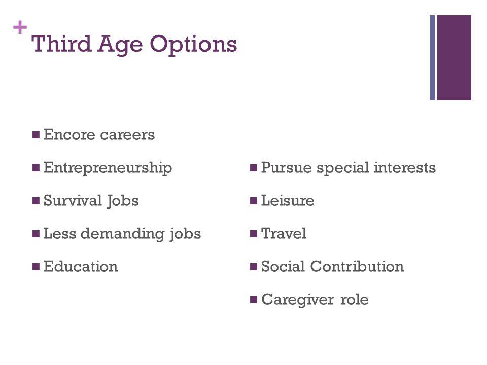 + Third Age Options Encore careers Entrepreneurship Survival Jobs Less demanding jobs Education Pursue special interests Leisure Travel Social Contribution Caregiver role