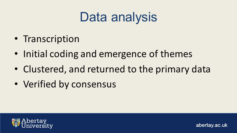abertay.ac.uk Data analysis Transcription Initial coding and emergence of themes Clustered, and returned to the primary data Verified by consensus