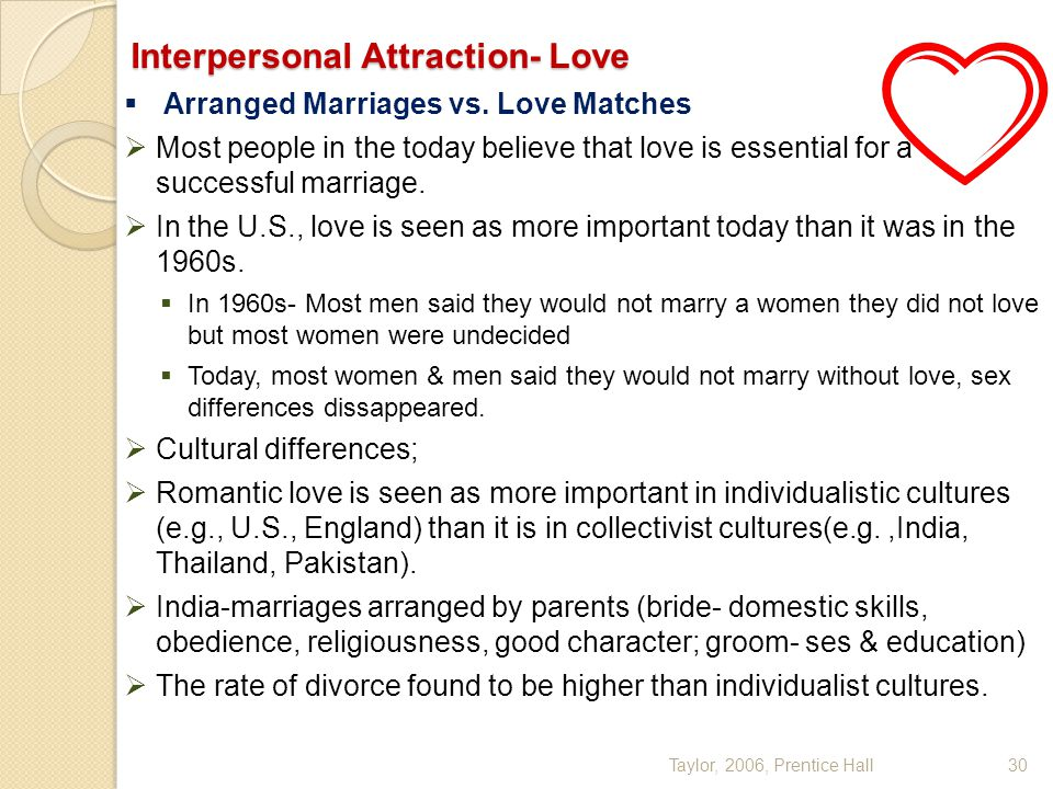 Taylor, 2006, Prentice Hall30 Interpersonal Attraction- Love  Arranged Marriages vs. Love Matches  Most people in the today believe that love is ess