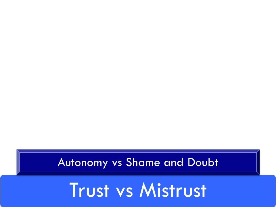 Trust vs Mistrust Trust versus Mistrust Autonomy vs Shame and Doubt