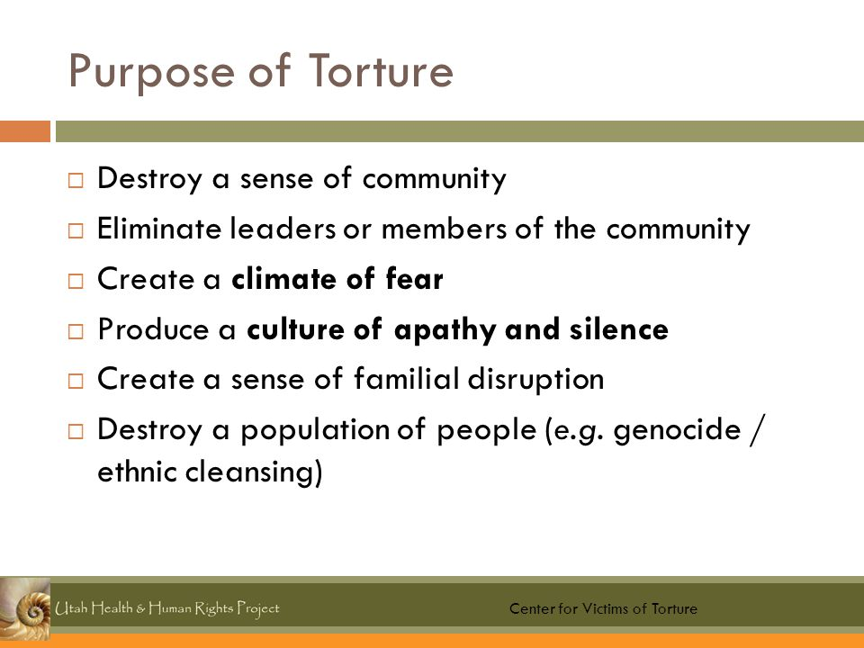Purpose of Torture  Destroy a sense of community  Eliminate leaders or members of the community  Create a climate of fear  Produce a culture of apathy and silence  Create a sense of familial disruption  Destroy a population of people (e.g.
