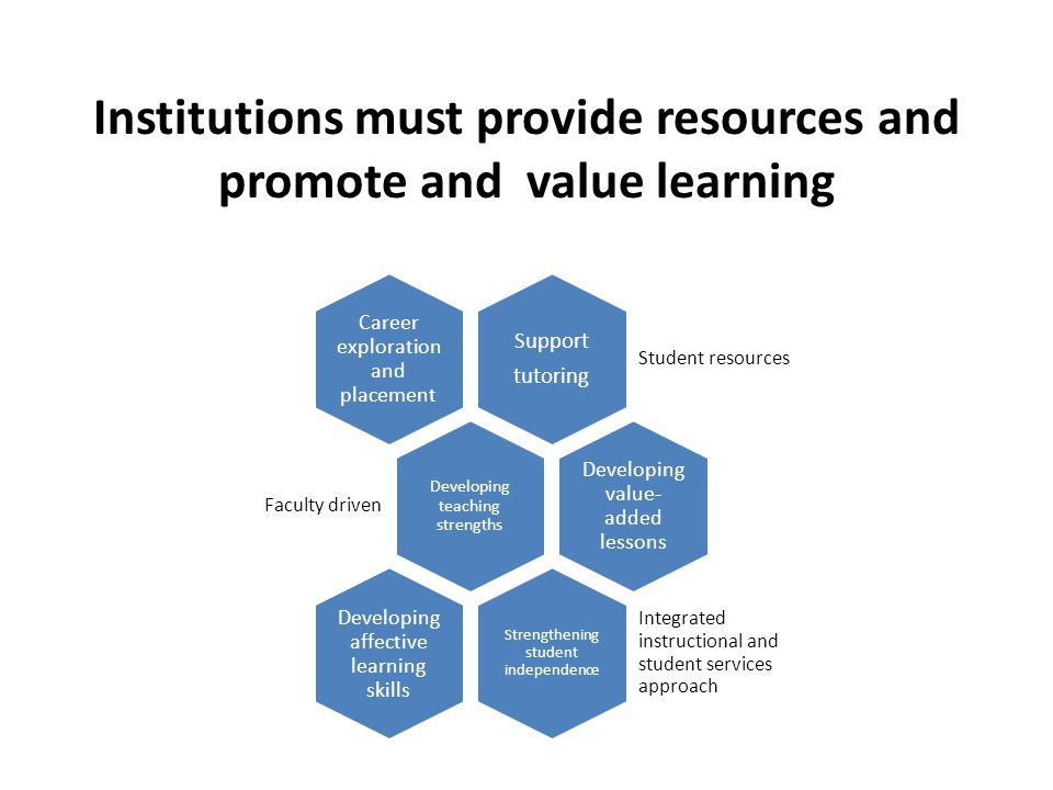 Institutions must provide resources and promote and value learning Support tutoring Student resources Career exploration and placement Developing teaching strengths Faculty driven Developing value- added lessons Strengthening student independence Integrated instructional and student services approach Developing affective learning skills