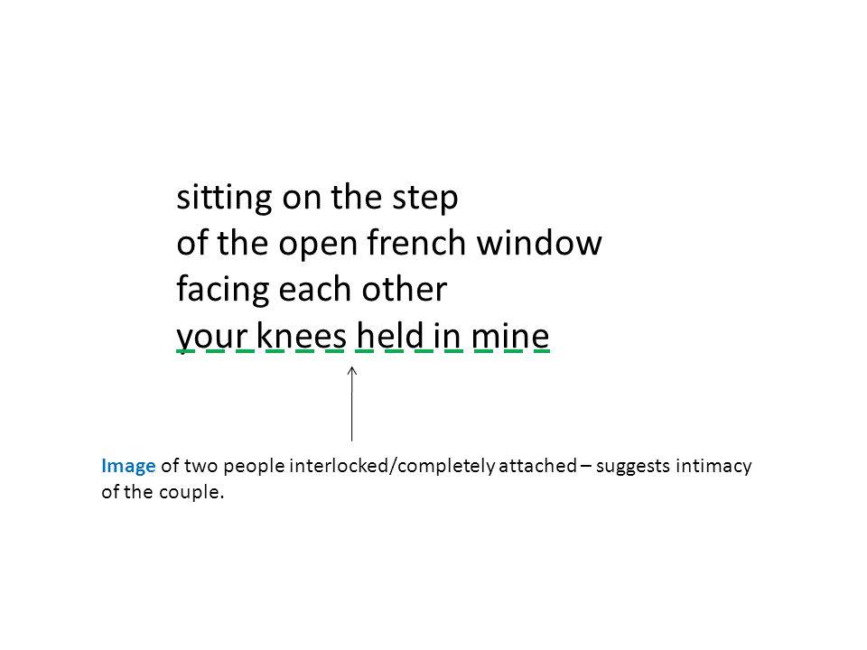 sitting on the step of the open french window facing each other your knees held in mine Image of two people interlocked/completely attached – suggests intimacy of the couple.