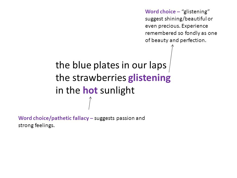 the blue plates in our laps the strawberries glistening in the hot sunlight Word choice – glistening suggest shining/beautiful or even precious.