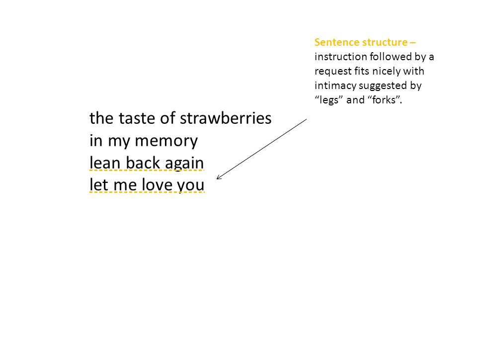 the taste of strawberries in my memory lean back again let me love you Sentence structure – instruction followed by a request fits nicely with intimacy suggested by legs and forks .
