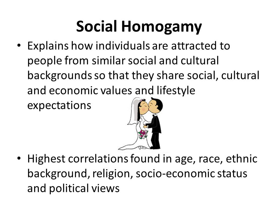 Social Homogamy Explains how individuals are attracted to people from similar social and cultural backgrounds so that they share social, cultural and economic values and lifestyle expectations Highest correlations found in age, race, ethnic background, religion, socio-economic status and political views