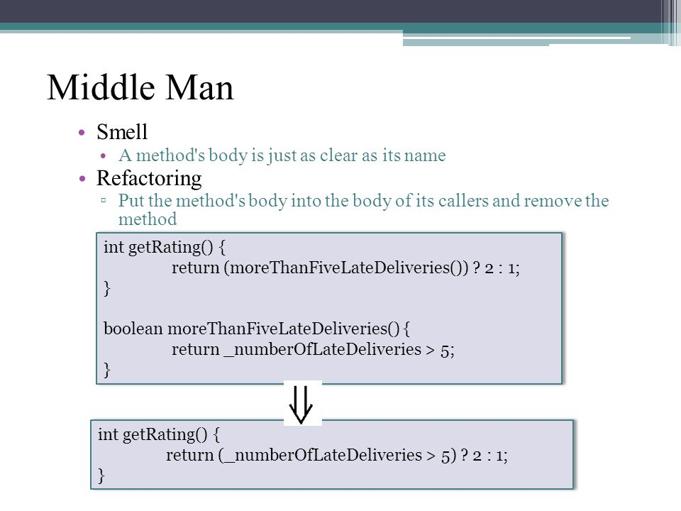 Middle Man Smell A method s body is just as clear as its name Refactoring ▫ Put the method s body into the body of its callers and remove the method int getRating() { return (moreThanFiveLateDeliveries()) .